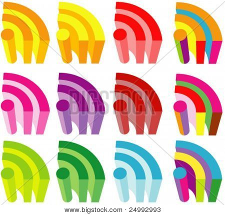 Vector Colorful 3D RSS Icons Set (Colors are easy to edit)