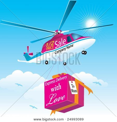 Vector Marketing/Message Helicopter with Special Present (Text is easy to change to your own message)