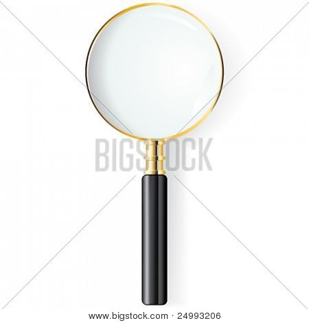 Vector Gold and Black Magnifying Glass