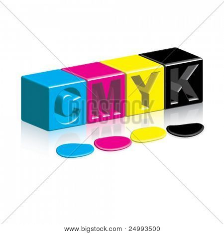 Vector CMYK Boxes & Inks/Paint on Shiny Reflective Surface
