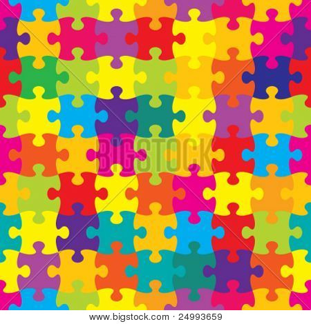 Vector Seamless Brightly Colored Puzzle Pattern