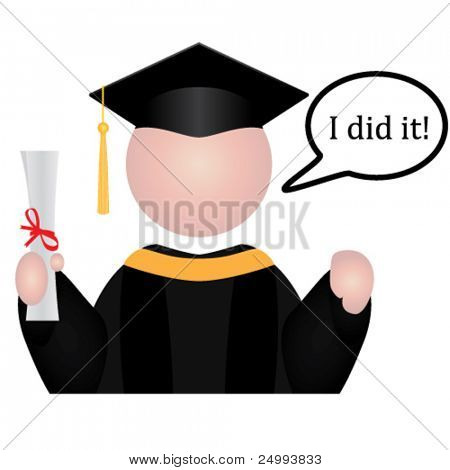 """Vector Graduation student icon with speech bubble saying """"I did it!"""""""