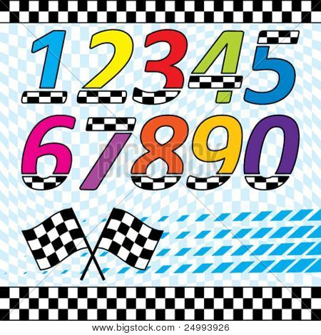 Vector racing theme design elements set.  Each on separate layers. contains checkered waving background, 2 and 3 row checkered lines, checkered numbers, crossed flags and speed square halftone.