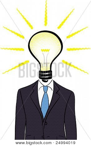 Light bulb headed man in a pop art/comic style with halftone patterns