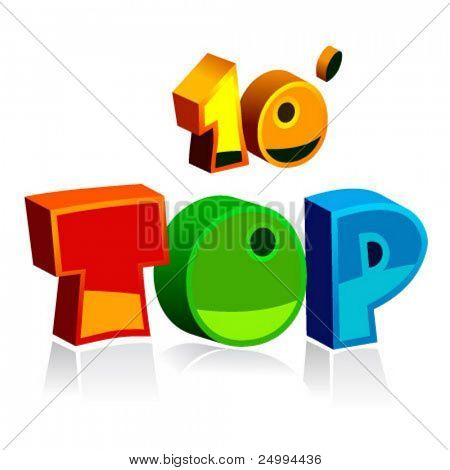 top ten vector colorful letters
