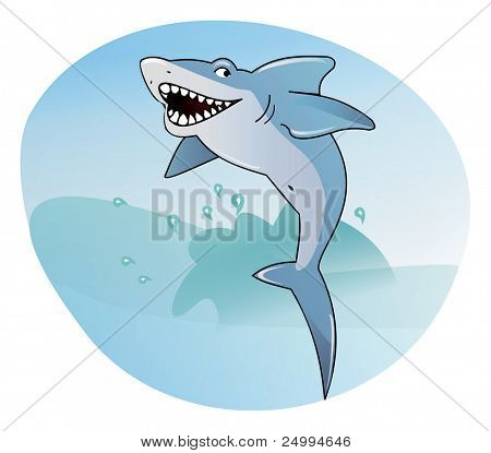 Shark on the sea background