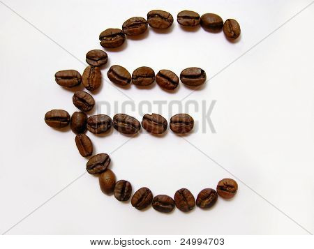 Euro sign made from coffee beans