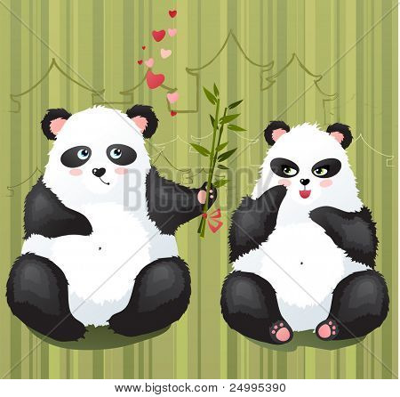 Two cute pandas falling in love