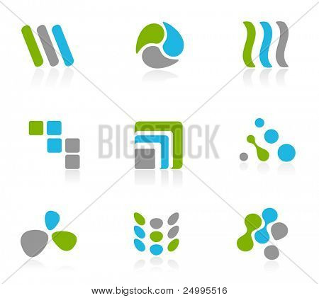 Green and blue logo icons