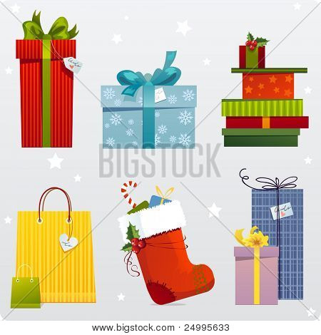 Set of different gifts