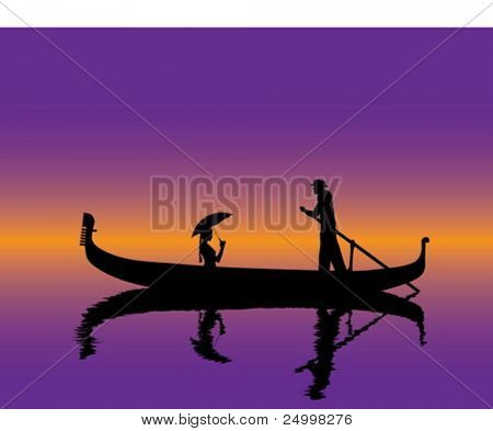 Girl with umbrella in a gondola
