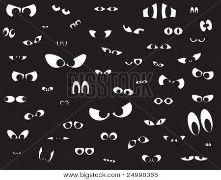 Over fifty different shapes of eyes in the dark
