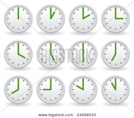 white clocks showing different time