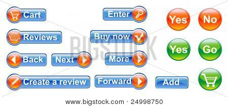 The set of buttons and designs for internet shop