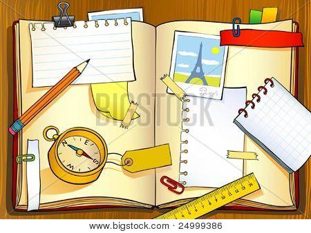 Vector illustration of notebook of traveler