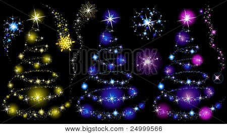 Magic christmas trees made of stars. Isolated on a black background.