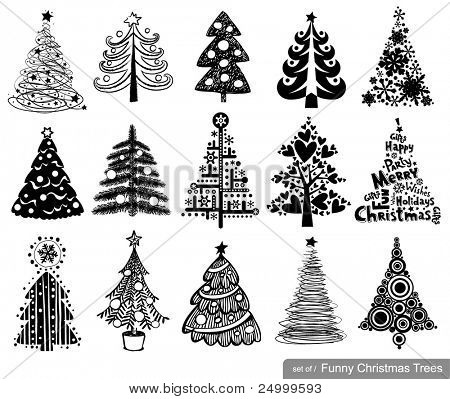 Set of Funny Christmas Trees. 15 designs in one file. To see similar sets visit my gallery.