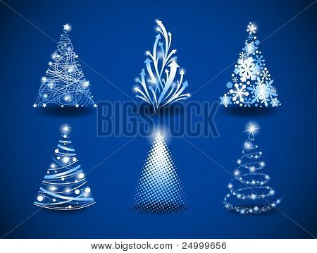 Six modern christmas trees on a blue background.