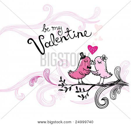 Vector illustration of kissing birds, may be used as Valentine card.