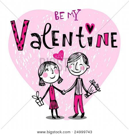 Vector illustration of a valentines couple, may be used as Valentine card.