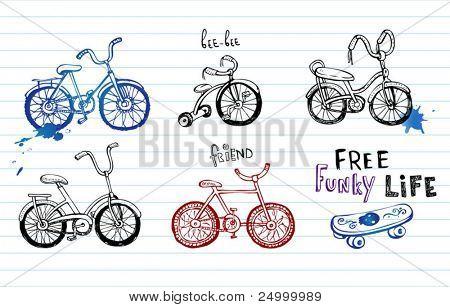 Bicicletas de mão desenhada, conjunto de 5 vector Doodles