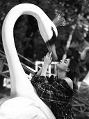 Woman And Swan On Green Sunny Park Background. Girl With Passionate Face Looks Up. Lady And Big Stee poster