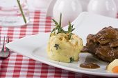stock photo of chateaubriand  - delicious Tenderloin steak on a table with potato  - JPG