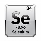 Selenium Symbol.chemical Element Of The Periodic Table On A Glossy White Background In A Silver Fram poster