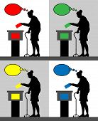 Old Woman Voter Silhouettes With Different Colored Thought Bubble By Voting For Election. All The Si poster