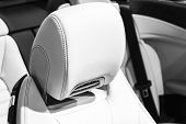 Modern Luxury Car Leather Seat. Perforated Stitched White Leather Interior.part Of Leather Car Seat  poster