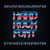 Hard Rock Alphabet Font. Metal Effect Beveled Colorful Letters, Numbers And Symbols. Stock Vector Ty poster