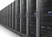 stock photo of mainframe  - Row of network servers in data center room on white reflective background - JPG