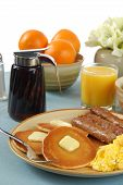foto of scrambled eggs  - A country breakfast of sausage pancakes and eggs - JPG