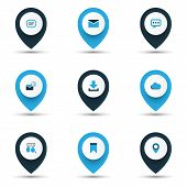Social Icons Colored Set With Down Arrow, Overcast, Talking And Other Location Elements. Isolated  I poster