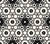 Vector Geometric Seamless Pattern With Different Sized Hexagons. Elegant Monochrome Geometrical Orna poster