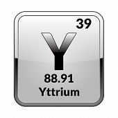 Yttrium Symbol.chemical Element Of The Periodic Table On A Glossy White Background In A Silver Frame poster