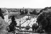 Aerial View Of People, Sculptures, Fountain And Churches On Piazza Del Popolo In Rome, Italy. Black  poster