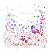 Watercolor Square Clipart Of Crimson And Blue Nature Elements. Clipart Consist Of Berries, Flowers,  poster