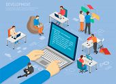 Programming Development Poster Code In Laptop. Programmers Work On Computers. Programs Coding Infogr poster