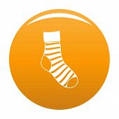 Striped Sock Icon. Simple Illustration Of Striped Sock Vector Icon For Any Design Orange poster