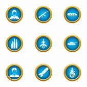Military Takeover Icons Set. Flat Set Of 9 Military Takeover Vector Icons For Web Isolated On White  poster
