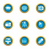 Data Material Icons Set. Flat Set Of 9 Data Material Vector Icons For Web Isolated On White Backgrou poster