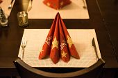 Christmas And New Year Holiday Table Setting. Celebration. Place Setting For Christmas Dinner. Holid poster