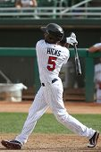 MESA, AZ - NOVEMBER 4: Mesa Solar Sox outfielder Aaron Hicks swings at a pitch in a game against the