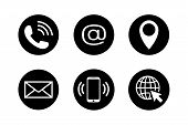 Contact Icons In Black Circles In Flat Style. Telephone, Mail, Mobile Phone, Email, Location And Web poster