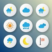 Climate Icons Flat Style Set With Outbreak, Frost, Cloudy And Other Frosty Elements. Isolated Vector poster