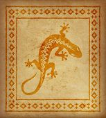 Decorative Ethnic Border On A Piece Of Parchment. Native Americans Symbol Of Lizard. poster