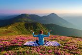 Colorful Carpet. The Yoga Girl In The Lotus Pose. The Lawn With The Rhododendron Flowers. High Mount poster