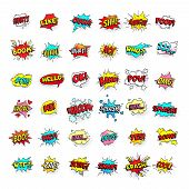 Comic Bubbles. Cartoon Text Balloons. Pow And Zap, Smash Wtf Oops Wow Omg Yeah Poof Boo And Kaboom S poster