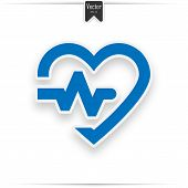 Heart Cardiogram Blue Icon - Vector Heartbeat Sign. Blue Heart Icon With Sign Heartbea poster